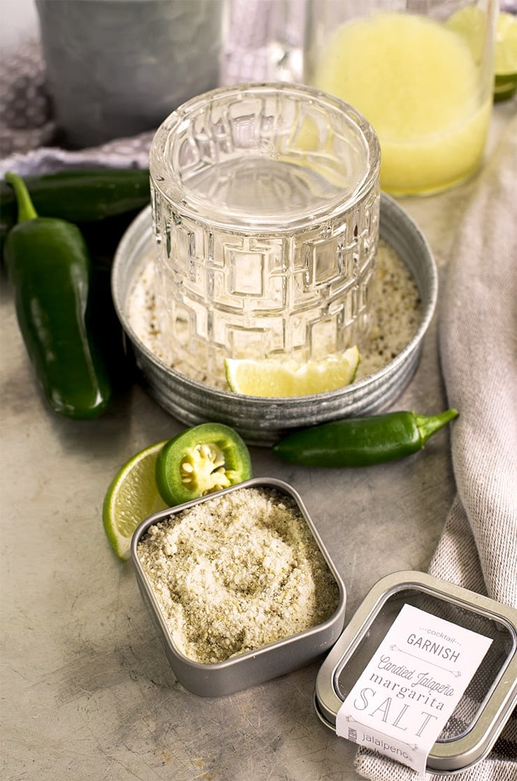 glass in dish of jalapeno margarita salt