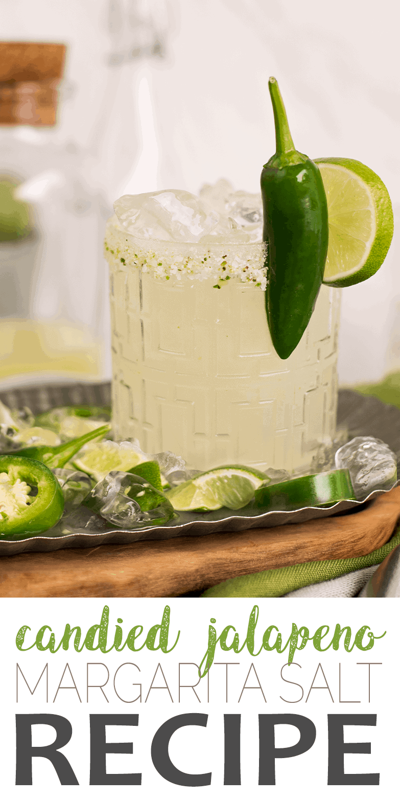 Spice up happy hour with this candied jalapeno margarita salt!  With just three ingredients, you can make this homemade cocktail garnish recipe for candied jalapeno margarita salt. Great for DIY favors and gifts! #jalapeno #margarita #cocktailhour #weddingfavors #partygifts #diyfoodgifts #happyhour