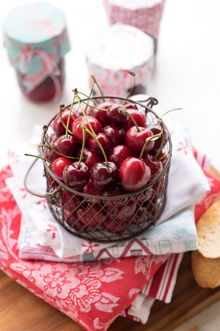 basket of red, sweet cherries