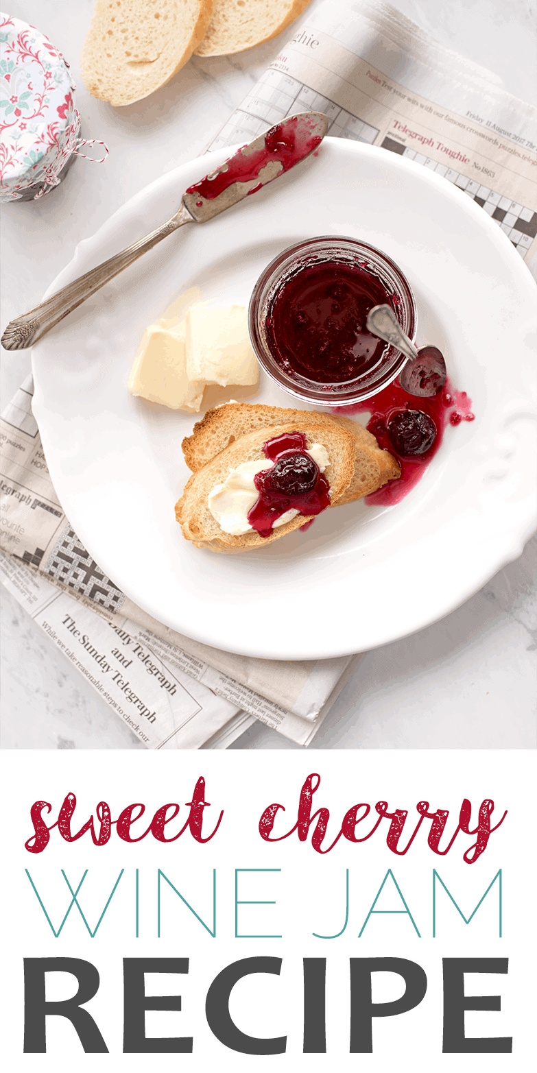 Our SWEET CHERRY JAM WITH MERLOT WINE is a fun recipe for farm fresh summer cherries! It's a great on toast, on soft creamy cheeses and vanilla ice cream!!!! #sweetcherries #cherry #cherryjam #merlot #jam #canningrecipes