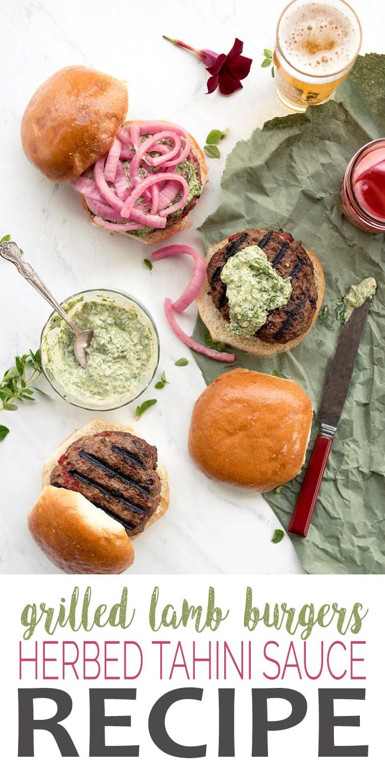 Grilled Lamb Burgers Pin - Grilled Lamb Burgers with Herbed Lemon Tahini Sauce
