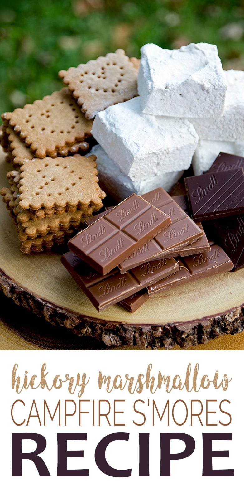 These foodie Hickory Marshmallow S'mores with Lindt Chocolate are an exquisite #Choctoberfest treat. Marshmallows and graham crackers made from scratch! #smores #campfire #dessert #hickory #grahamcrackers #chocolate