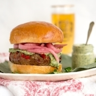 Grilled Lamb Burgers with Herbed Lemon Tahini Sauce