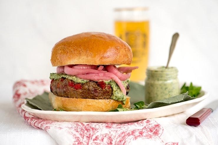 Grilled Lamb Burgers with Herbed Lemon Tahini Sauce