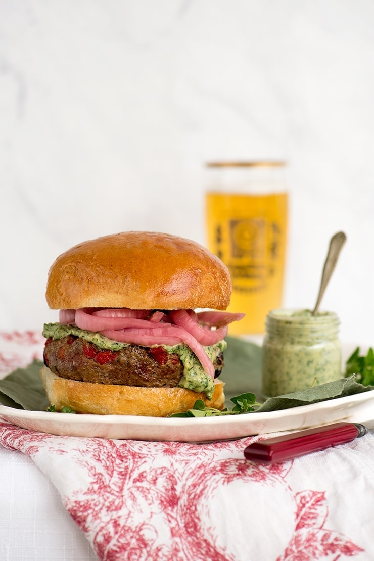 Grilled Lamb Burgers with Herbed Leon Tahini
