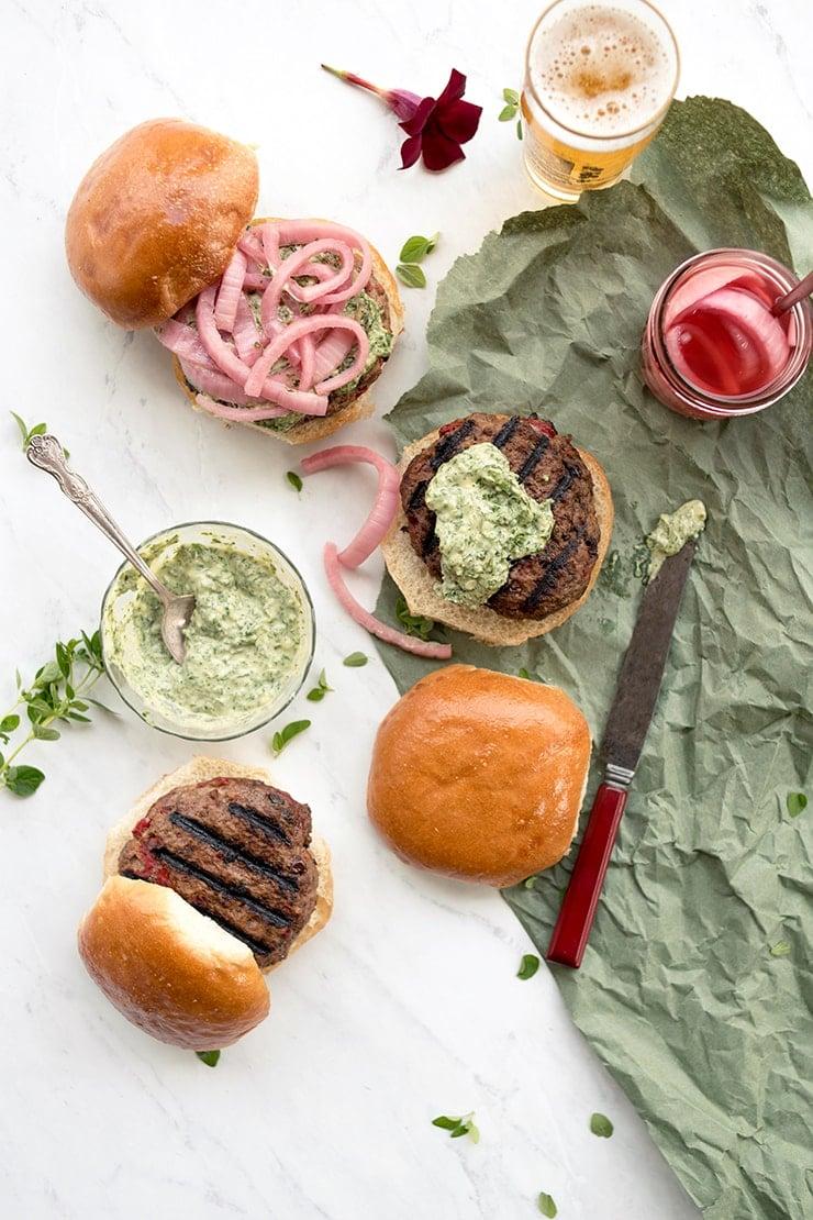 Lamb Burgers 4624 Cropped Web - Grilled Lamb Burgers with Herbed Lemon Tahini Sauce
