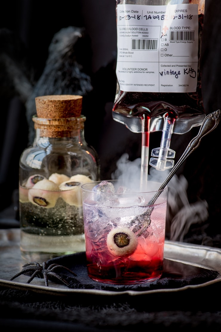 smoking bloody good gin and tonic with a drip of blood from a blood bag