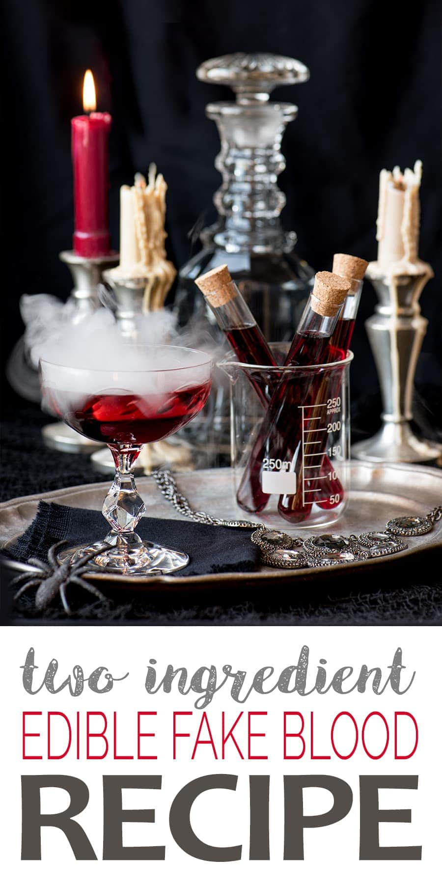 Making edible fake blood is an easy undertaking. This Halloween recipe uses just two ingredients: sugar and juice and tastes fang-tastic! #halloween #fakeblood #allhallowseve #ediblefakeblood #halloweentreats