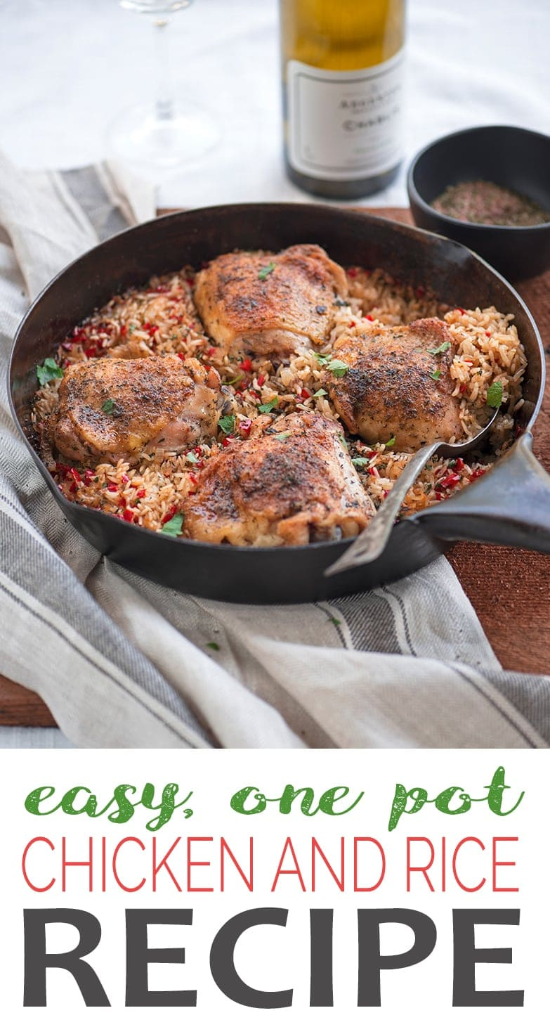 This savory, ONE POT CHICKEN AND RICE recipe is an easy weeknight dinner everyone will love! Juicy chicken, toasted rice and spices to tingle your taste buds. #chickenrecipes #dinnerideas #chickenandrice #onepot