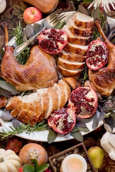 turkey leg and sliced breast on a serving tray with halved pomegranates