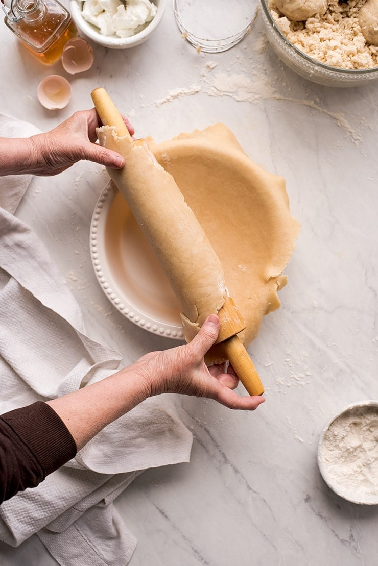 putting pie crust into pie plate