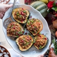 Stuffed Acorn Squash with Quinoa, Pomegranates and Walnuts