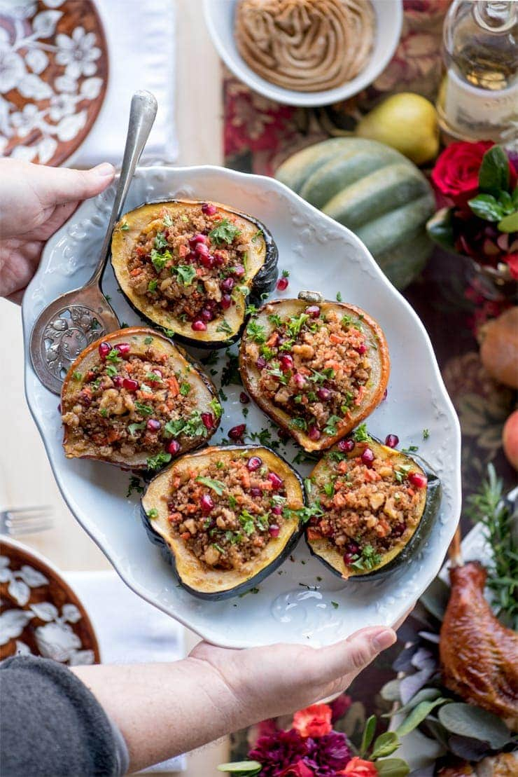 Stuffed Acorn Squash 6398 Web - Stuffed Acorn Squash with Quinoa, Pomegranates and Walnuts