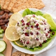 Leftover Turkey Salad with Cream Cheese and Pomegranates