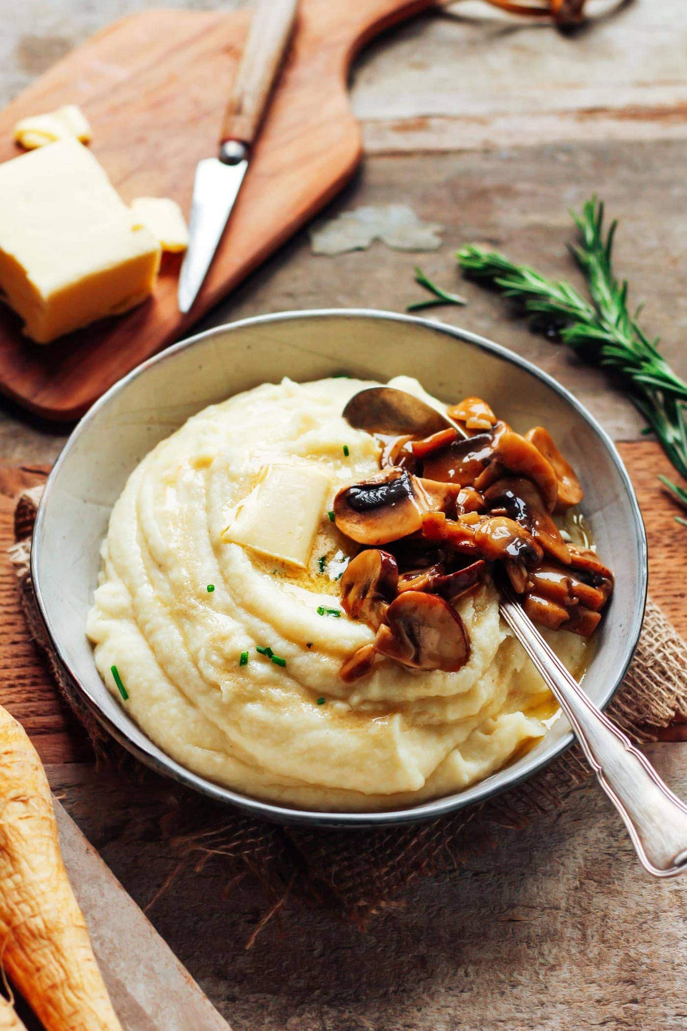 mashed cauliflower and parsnips with butter mushroom perfect thanksgiving side 27 - Mouthwatering Thanksgiving Menu Ideas