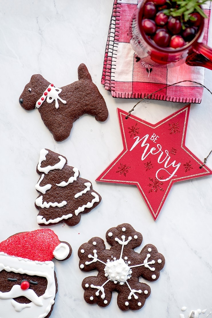 festive Christmas scene with decorated chocolate gingerbread cookies