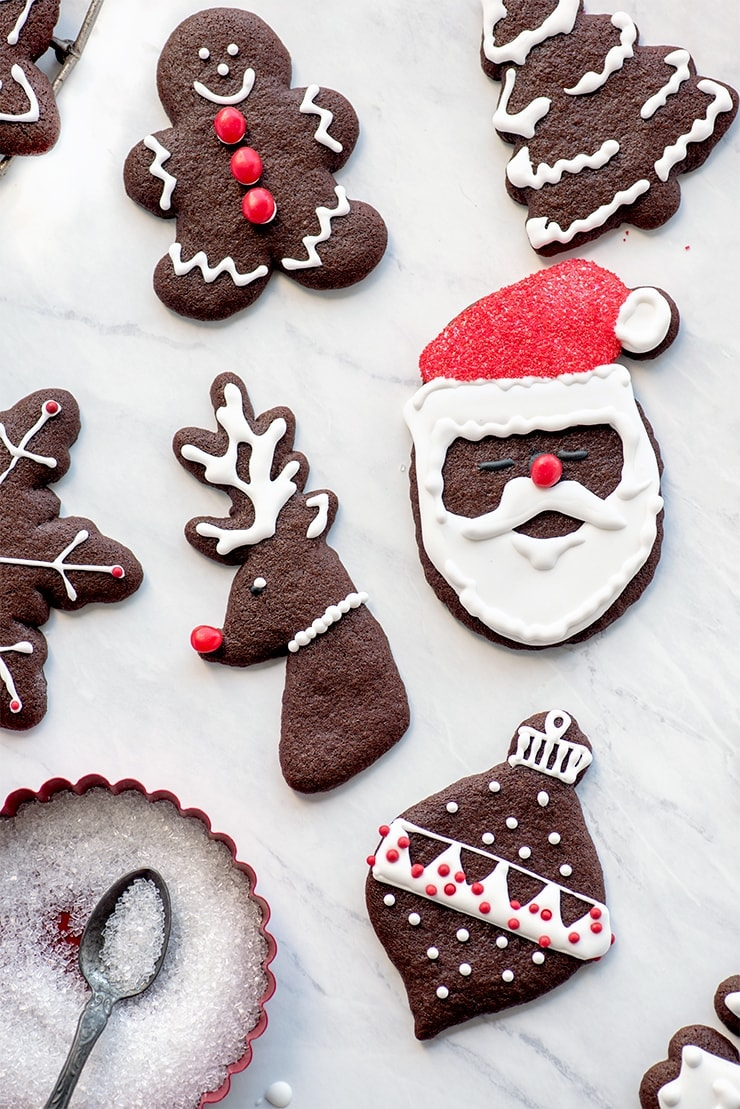 decorated chocolate gingerbread cookies