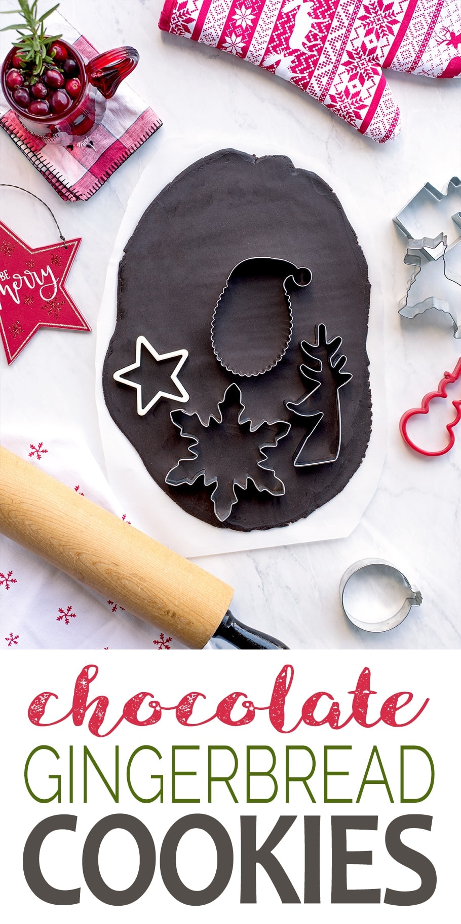 This Christmas cookie recipe combines the flavors of molasses and cocoa for a rolled chocolate gingerbread cookie that is fun to bake and decorate. #christmascookies #gingerbread #cookies #chocolaterecipes #Christmasrecipes #chocolategingerbread