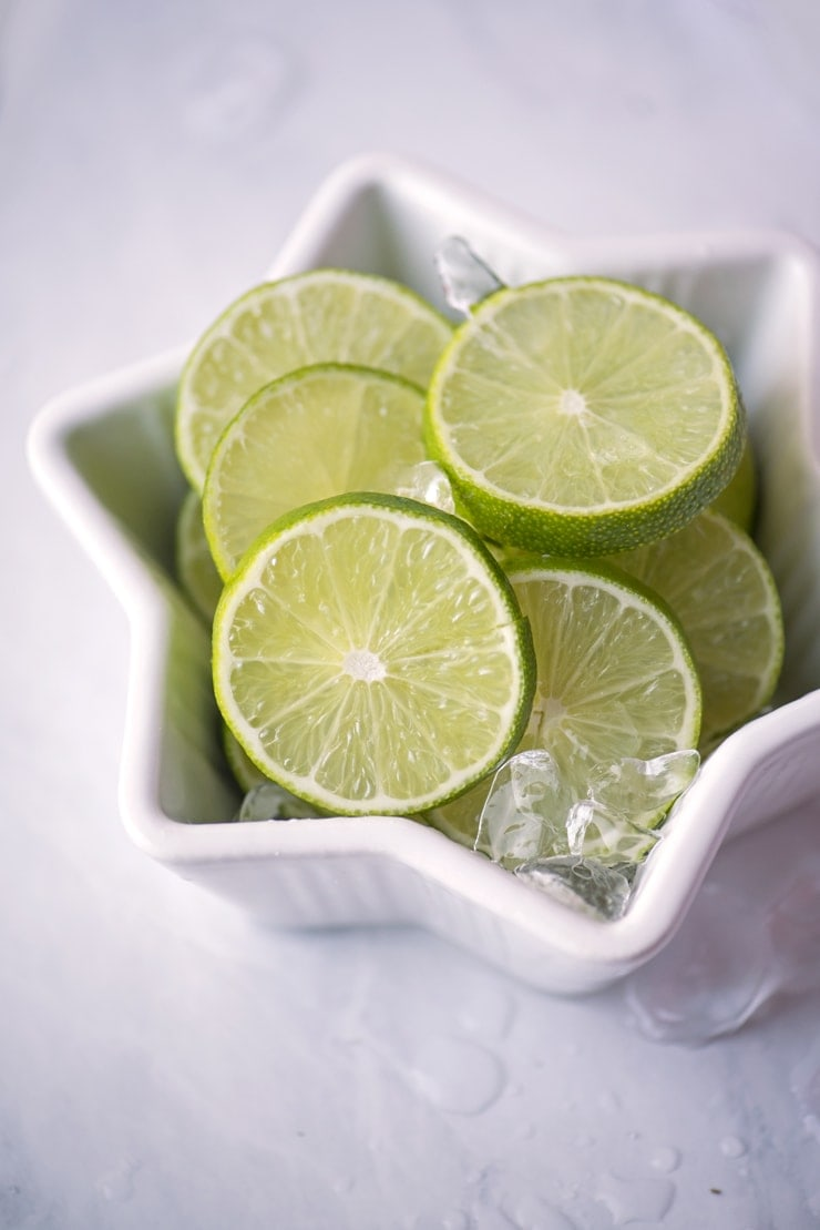 lime slices in a snowflake bowl