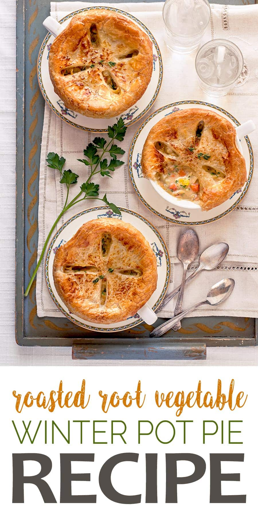 Roasted Root Vegetable Pot Pie Recipe - Roasted Root Vegetable Pot Pies