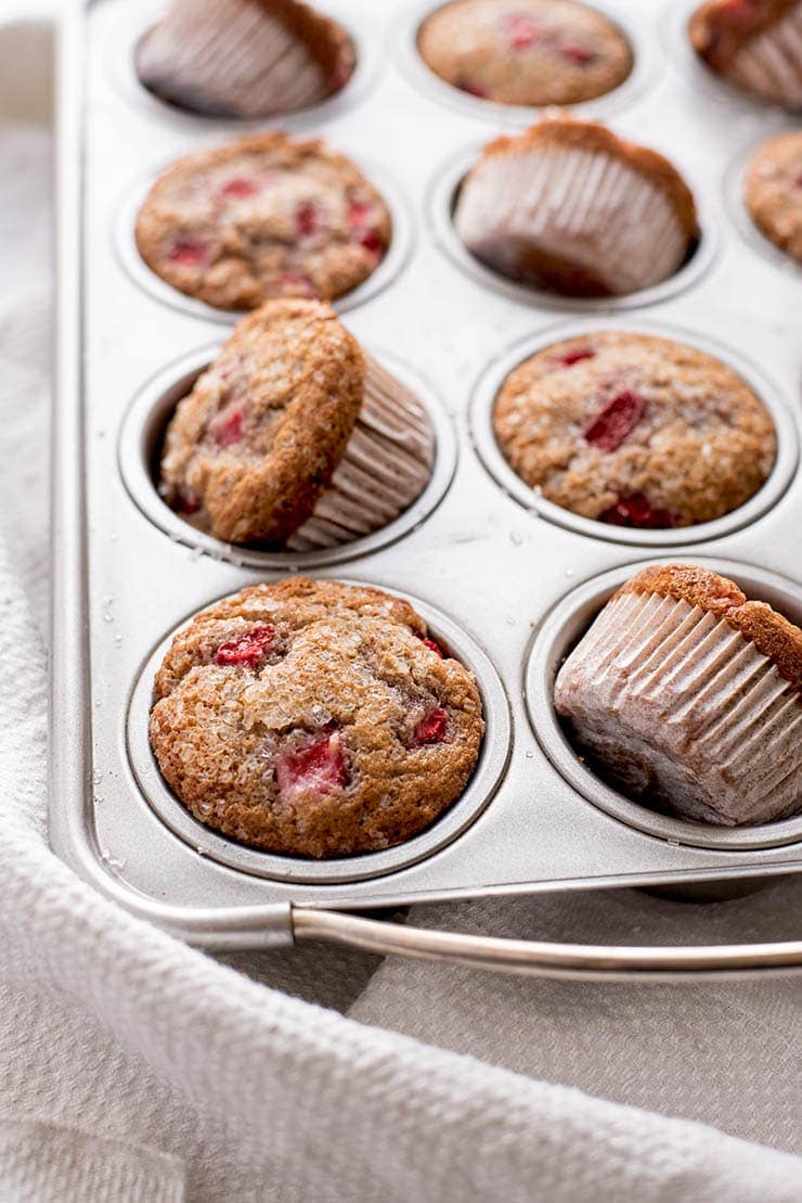 Strawberry muffins in muffin pan