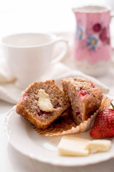 Strawberry Muffins 7849 Web 400x600 - Bakery Style Strawberry Muffins