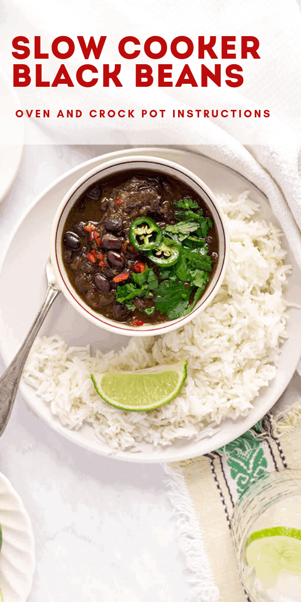 Making these slow cooker black beans from scratch is so easy, and so flavorful, canned beans will be a thing of the past! #slowcooker #blackbeans #crockpot #dinnerideas #cubanblackbeans #beans #madefromscratch