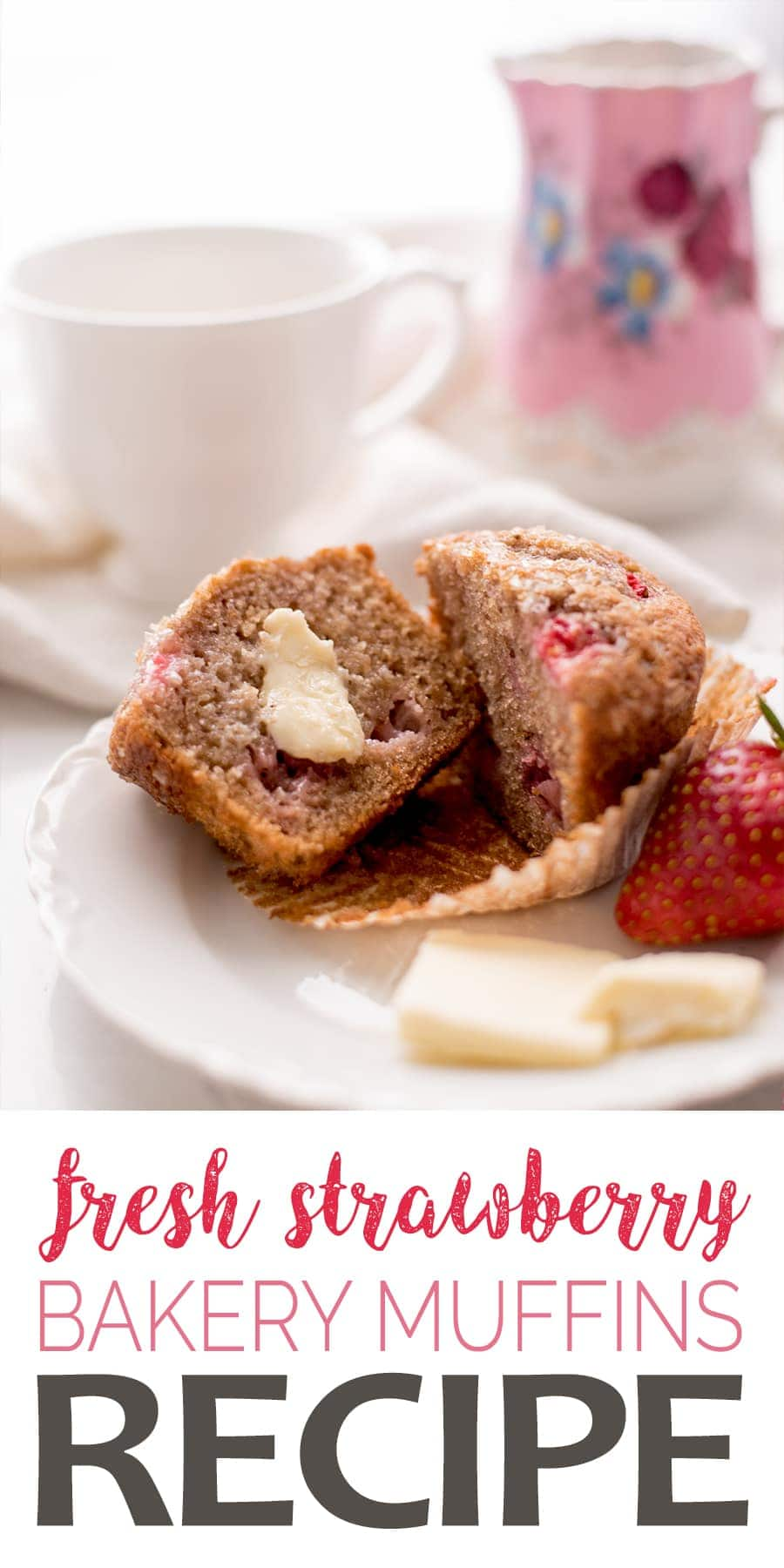 These Bakery Style Strawberry Muffins bake up tall and moist just like the ones you buy at your favorite coffee shop. Sweet, fruity and so tender! #strawberry #strawberrymuffins #baking #muffins #breakfast #bakerystyle