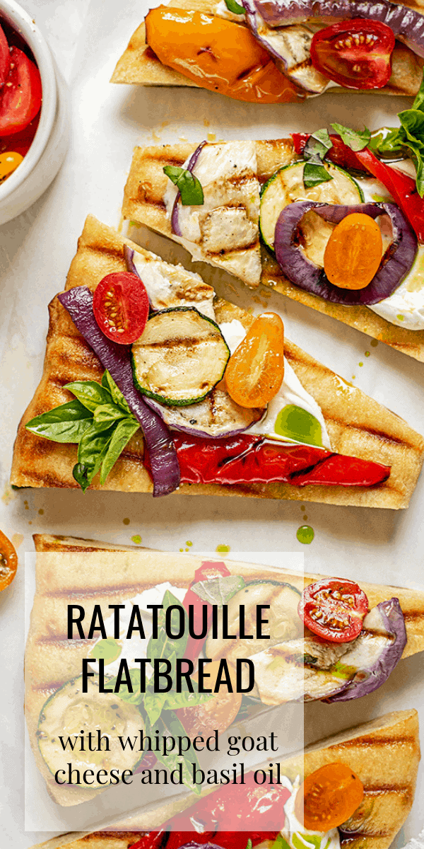 Enjoy the Journey. 3 - Grilled Ratatouille Flatbread Pizza with Whipped Goat Cheese