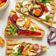 Grilled Ratatouille Flatbread Pizza with Whipped Goat Cheese