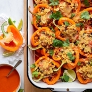 Mexican Stuffed Peppers with Black Beans, Quinoa and Corn