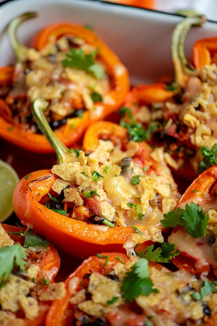 Mexican Stuffed Peppers 0285 Web - Mexican Stuffed Peppers with Black Beans, Quinoa and Corn
