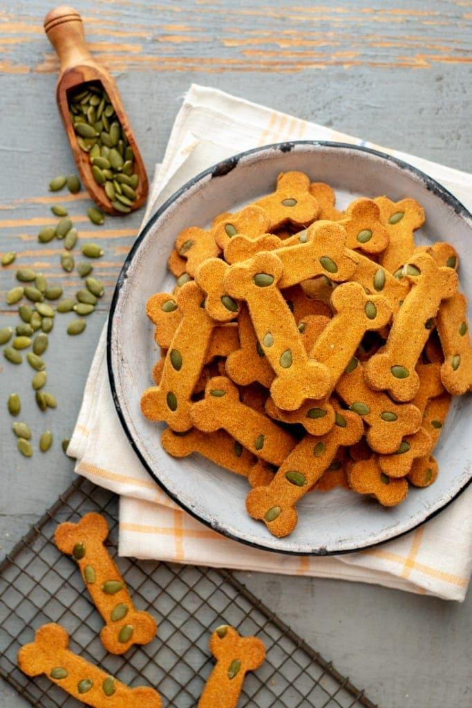 plate of pumpkin dog treats