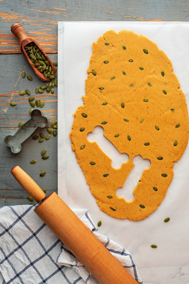 pumpkin spice dog biscuit dough with pepitas