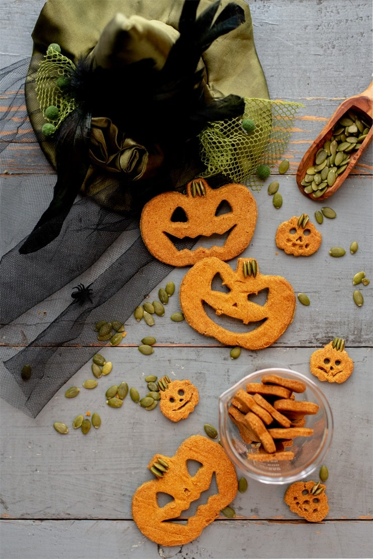 pumpkin dog treats cut out in jack-o-lantern shapes