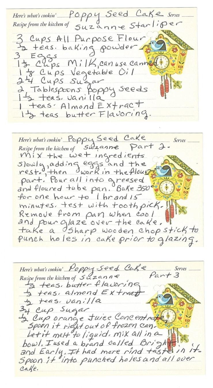 Suz PoppySeedCake recipe - Orange Poppy Seed Bundt Cake #MyVintageRecipe