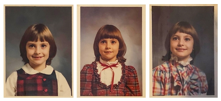 school pictures of Charity Beth Long from kindergarten to second grade