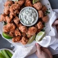 Buffalo Cauliflower Wings with Cilantro Lime Yogurt Dip