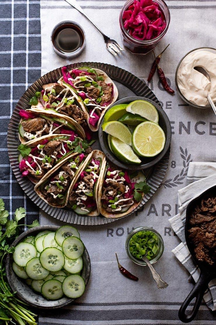 Bulgogi Tacos 5937 Web - Bulgogi Tacos with Cashew Crema and Pickled Cabbage