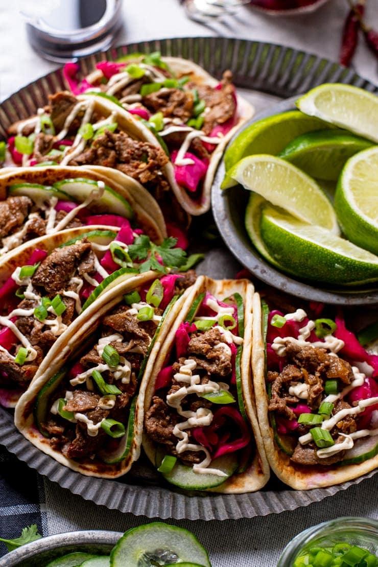 Bulgogi Tacos 5949 Web 2 - Bulgogi Tacos with Cashew Crema and Pickled Cabbage