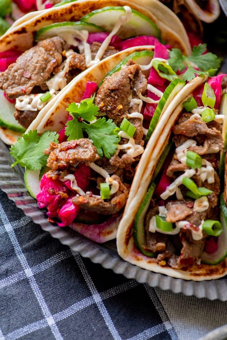 Bulgogi Tacos 6008 Web - Bulgogi Tacos with Cashew Crema and Pickled Cabbage