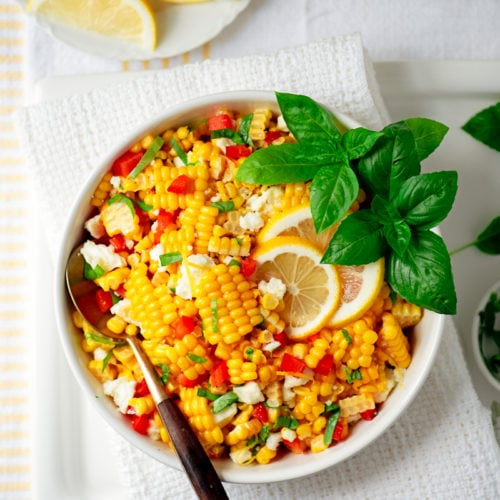 Corn Salad 8236 800px 500x500 - Summer Corn Salad with Basil and Queso Fresco