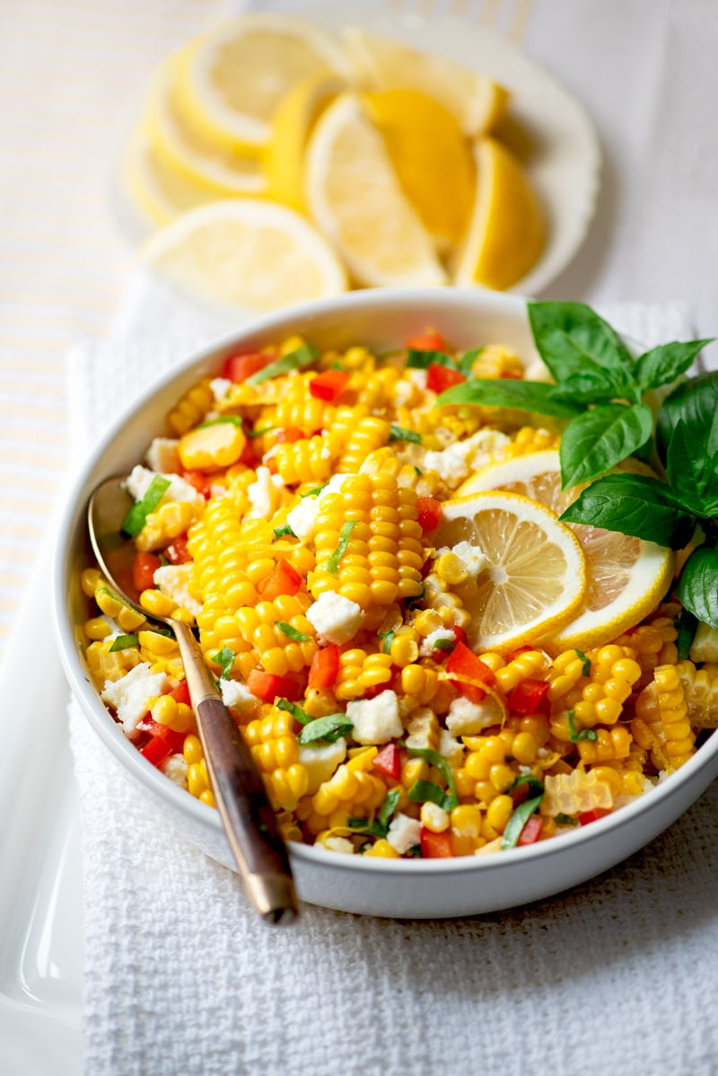 Corn Salad 8251 800px - Summer Corn Salad with Basil and Queso Fresco