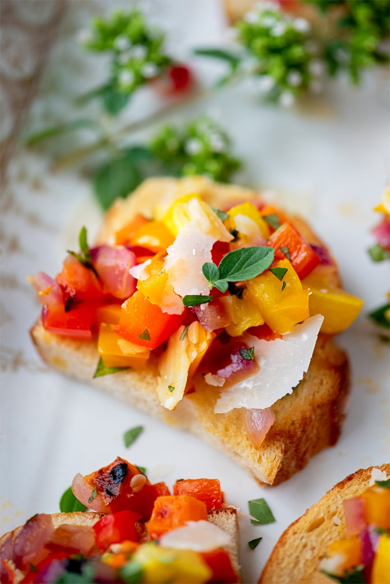 Vegetable Bruschetta 7861 800px - Vegetable Bruschetta with Peppers, Squash and Carrots
