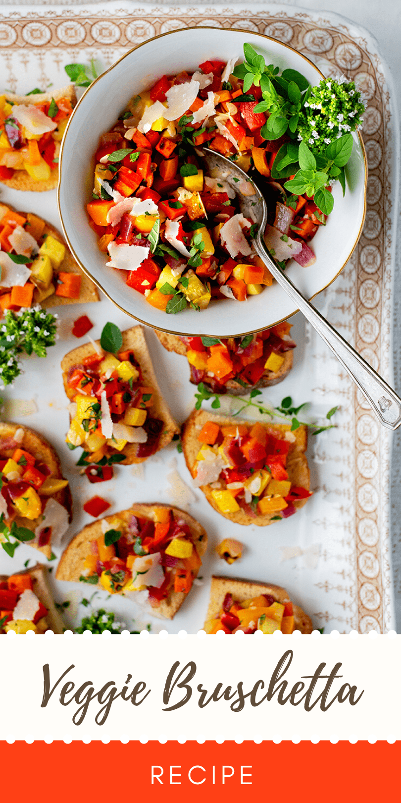 Vegetable Bruschetta Pin - Vegetable Bruschetta with Peppers, Squash and Carrots
