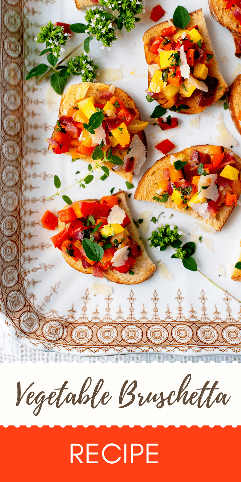 Veggie Bruschetta Pin - Vegetable Bruschetta with Peppers, Squash and Carrots