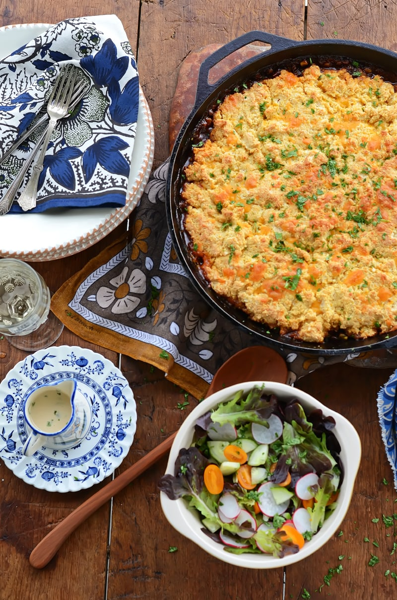 BQQ Lentil Bake Casserole 800px  - Barbecue Lentil Casserole with Cheddar Cornmeal Biscuit Topping