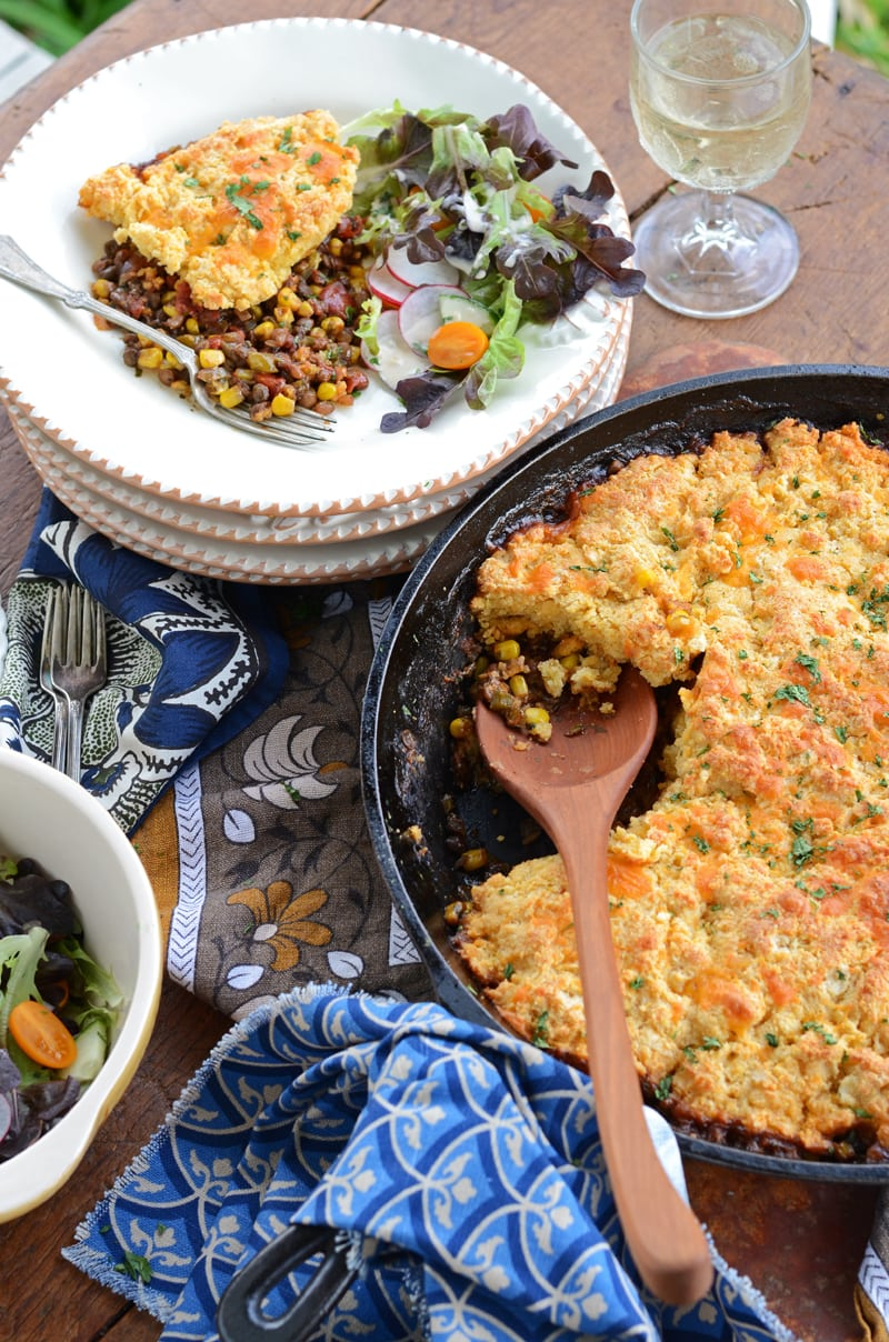 Dishing up BBQ Lentil Bake 800px - Barbecue Lentil Casserole with Cheddar Cornmeal Biscuit Topping