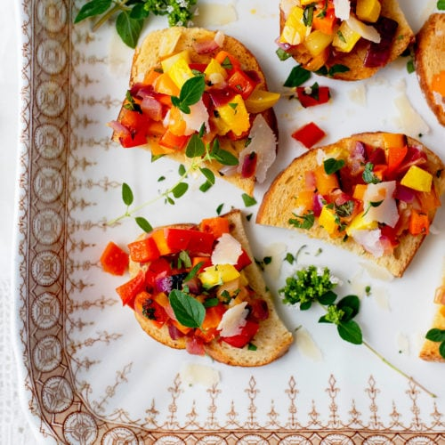 Vegetable Bruschette 7838 2000px SRGB 500x500 - Vegetable Bruschetta with Peppers, Squash and Carrots