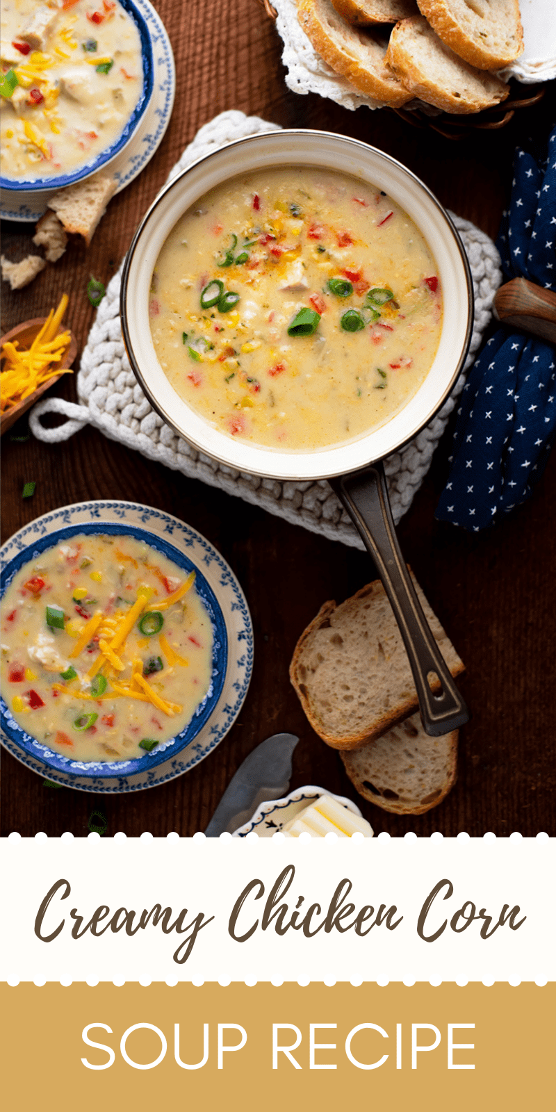 Chicken Corn Soup Pin - Comforting Creamy Chicken Corn Soup with a Hint of Heat